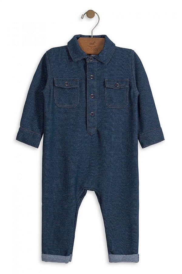 71ec86bafc974c Macacão Bebê Menino Up Baby Bebê Moletom Imitando Jeans