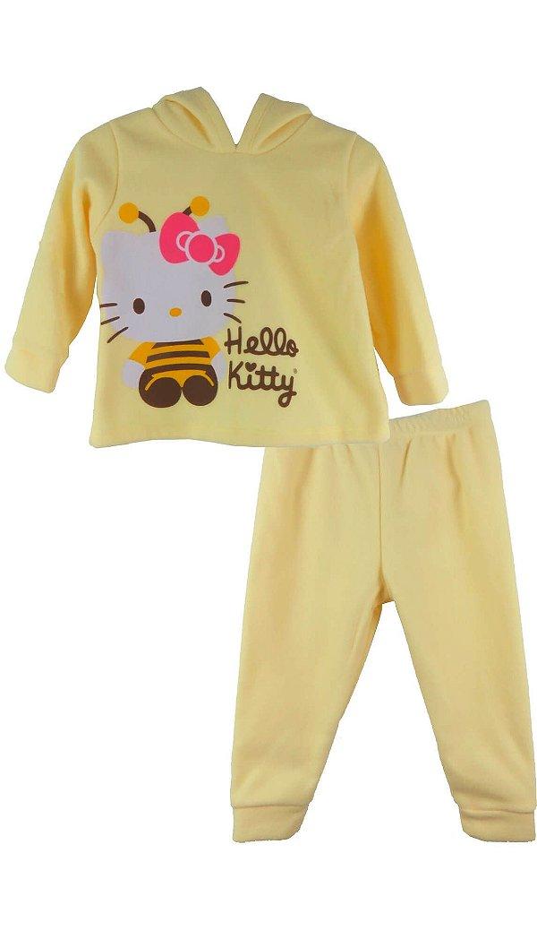 Conjunto Bebê Menina Up Baby Soft Amarelo Hello Kitty