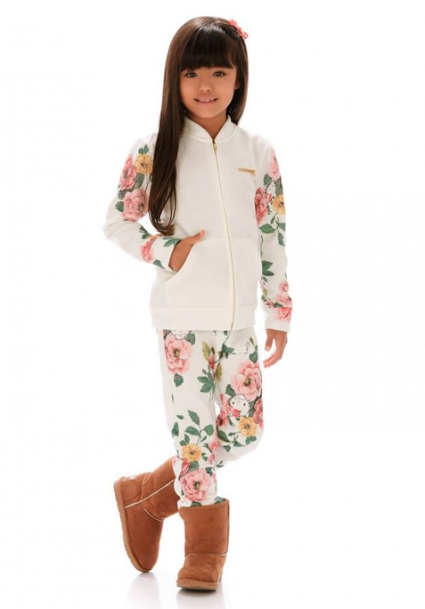Conjunto infantil feminino Hello Kitty Moletom Flanelado Flores