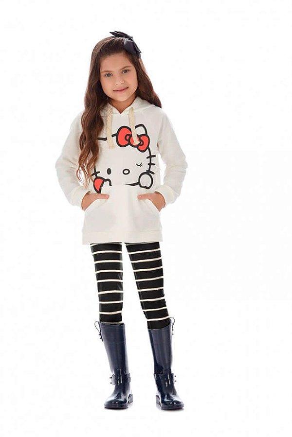 0913bb236 Conjunto de Moletom Infantil Flanelado Listra Branco Hello Kitty ...