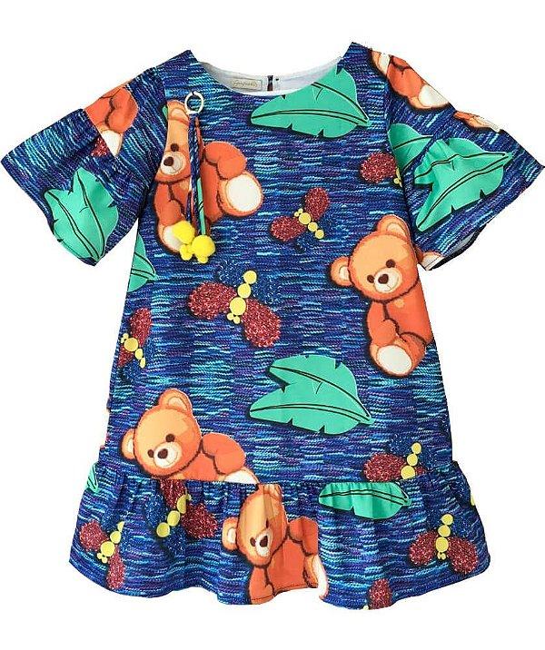 Vestido infantil feminina Guapachic de festa Urso