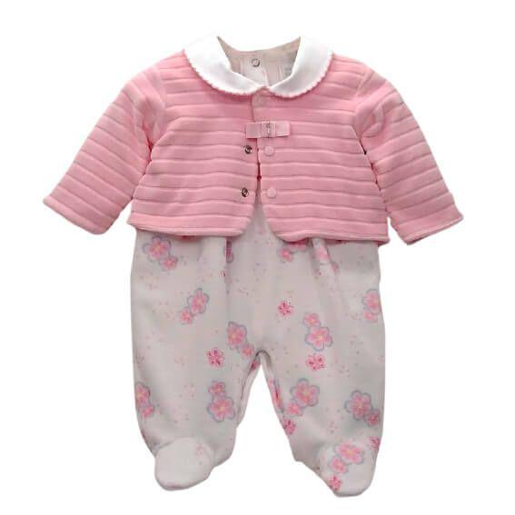 Macacão Bebê Baby fashionborboleta flores + casaco cotele