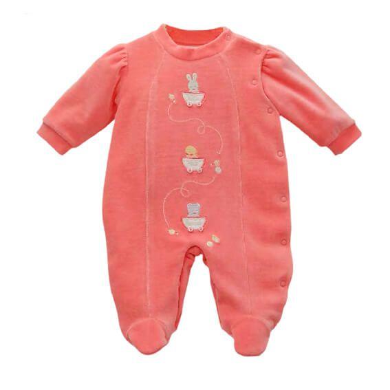 Macacão Bebê Baby fashion plush coral take me home