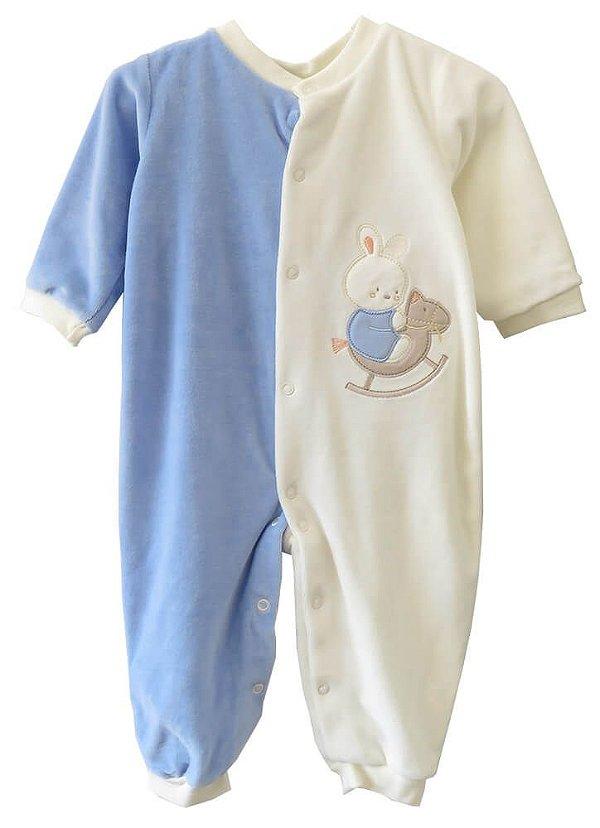 Macacão Bebê Baby fashion bebêplush azul upa upa cavalinho