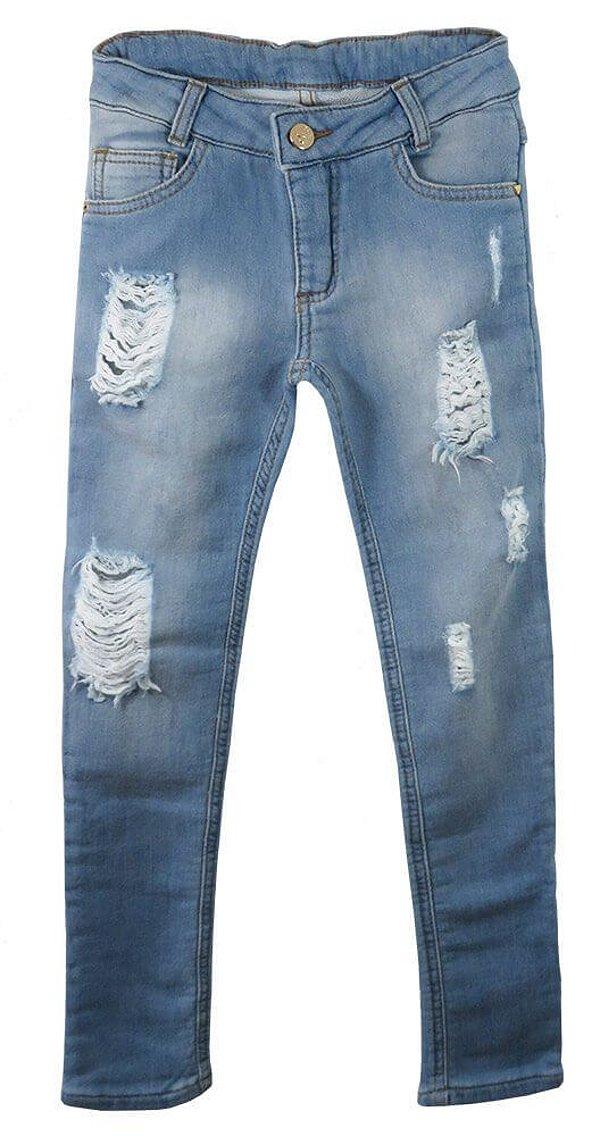 Calça infantil feminina Ninali moletom imitando jeans