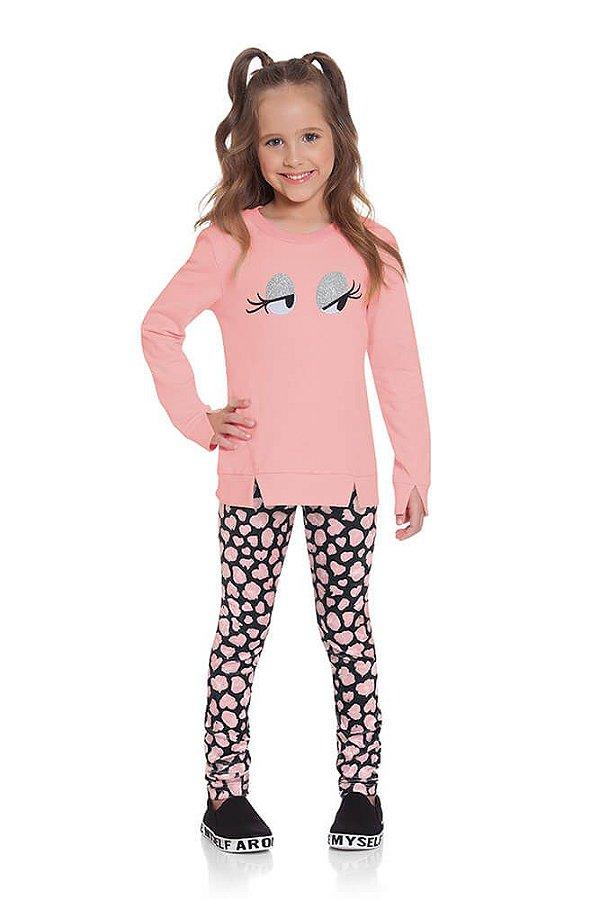 Conjunto infantil Ninali moletom com veludo boneca onça rosa