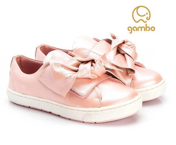 Tênis infantil feminino Gambo Slip On Glitter Blossom -