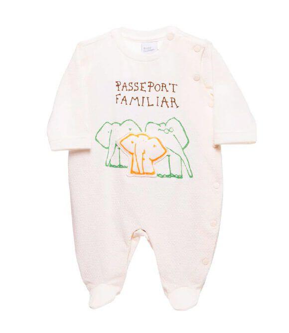 Macacão Bebê Baby fashion unissex família elefante off white