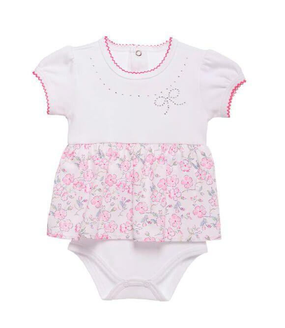 Body Bebê Baby fashion flores com aplique brilho