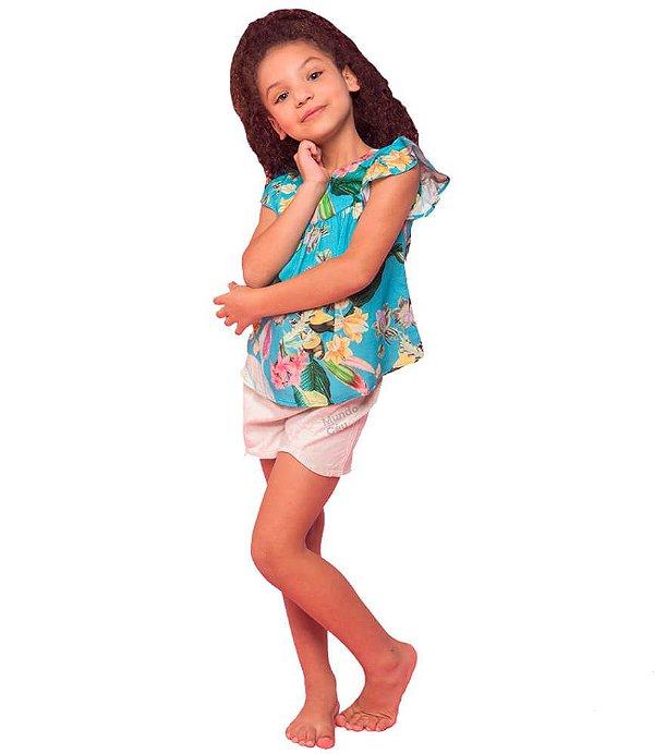 Conjunto infantil Mundo céu com shorts azul pássaros
