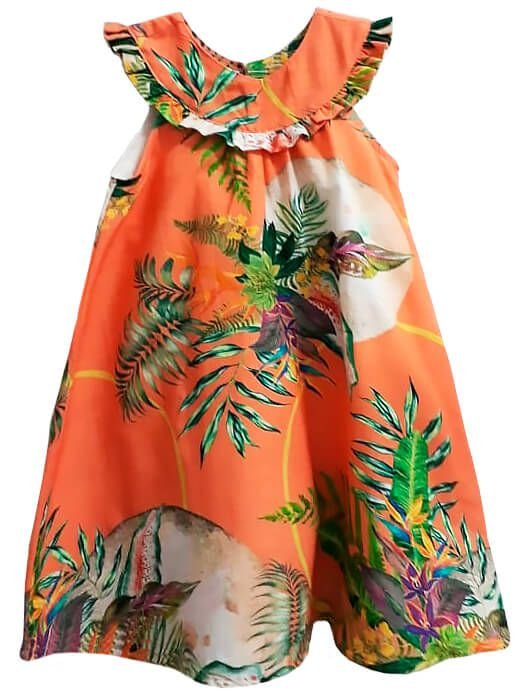 Vestido infantil Mundo céu Laranja coral flores