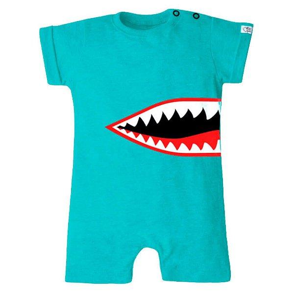 Macaquinho Bebê Menino Baby Beh bebê azul tubarão shark