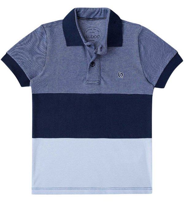 Camisa infantil masculino Luc Boo Polo listras azul