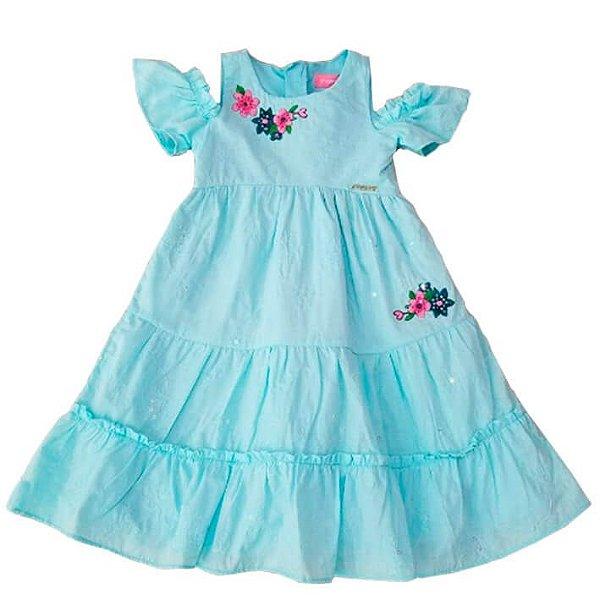Vestido infantil Menina Momi azul flores manguinha ombro