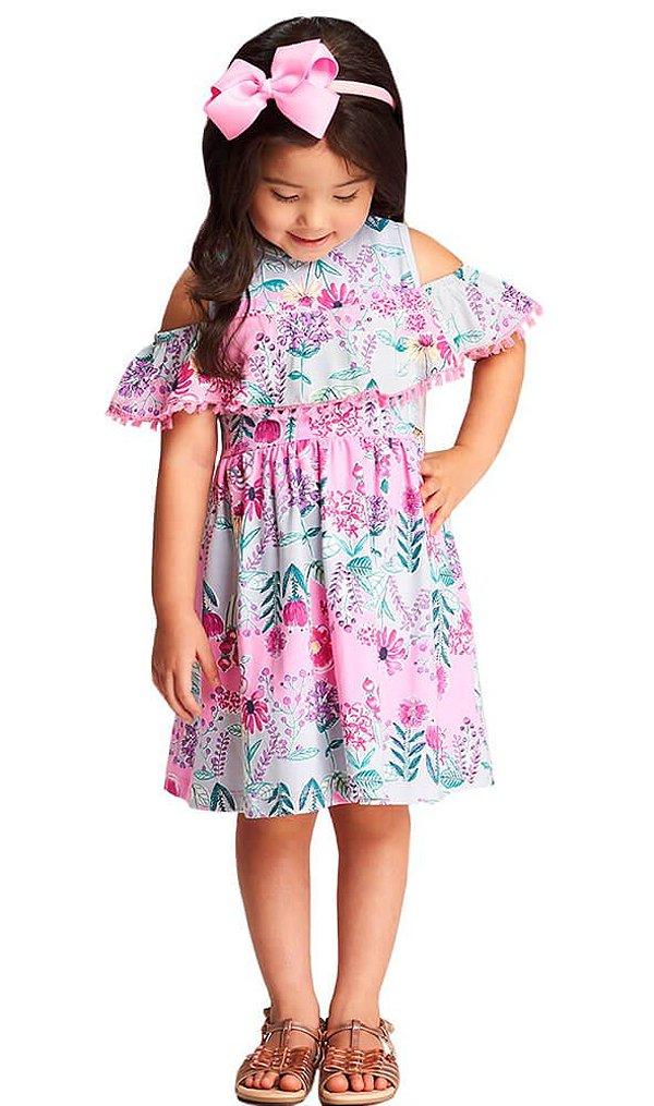 Vestido infantil  Momi flores modernas tassel