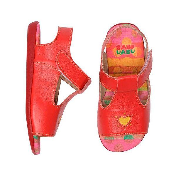 Sandália infantil Babo Uabu vermelha coração trivoli