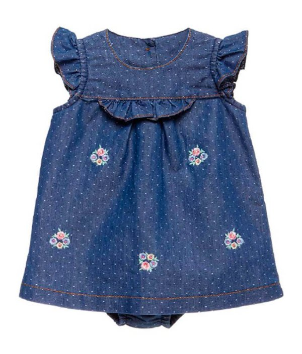 Vestido Bebê Menina Baby fashion Jeans floral