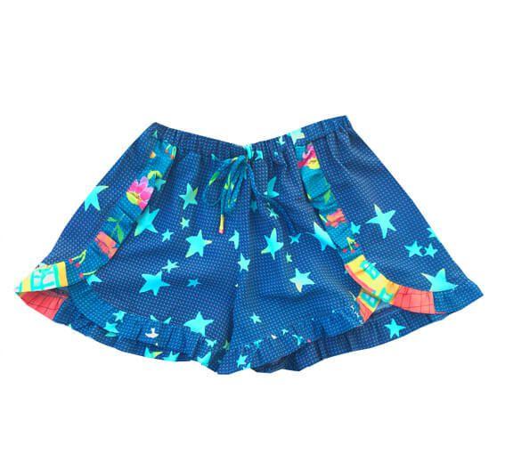 Shorts infantil Menina Das meninas Melbourne azul estrelas