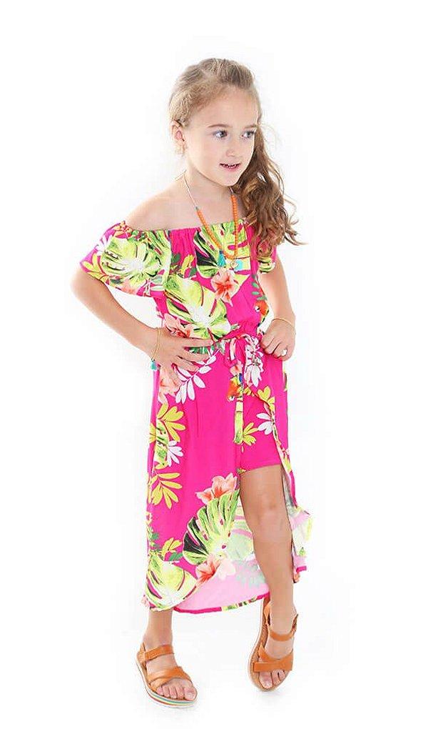 Macaquinho infantil Das meninas saia amora pink folhas