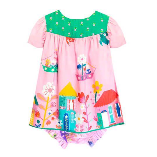 Vestido Bebê Das meninas com tapa fraudas rosa casinhas