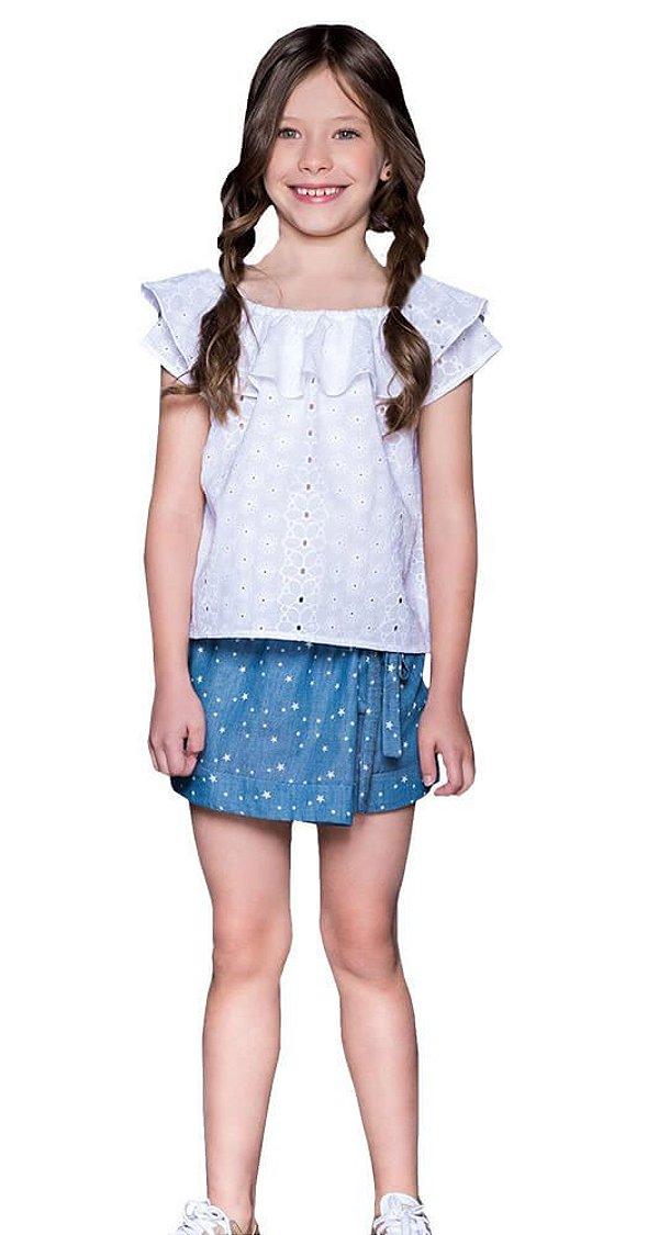 Blusa infantil Que te encante branco grécia lese