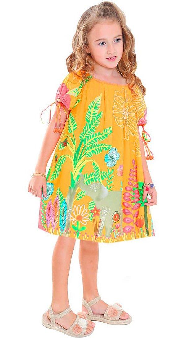 7b5e450a74 Vestido infantil feminino das meninas Elefante laranja - Kids na Net ...