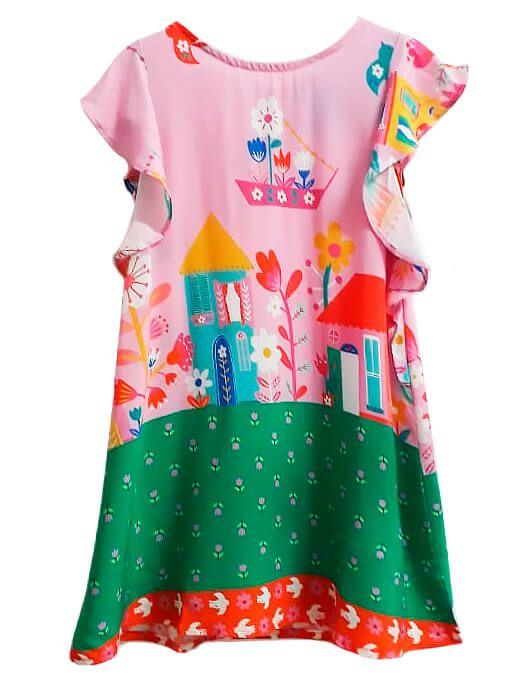 Vestido infantil feminino das meninas  brighton pássaro rosa