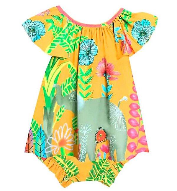Vestido de bebê das meninas Elefante laranja
