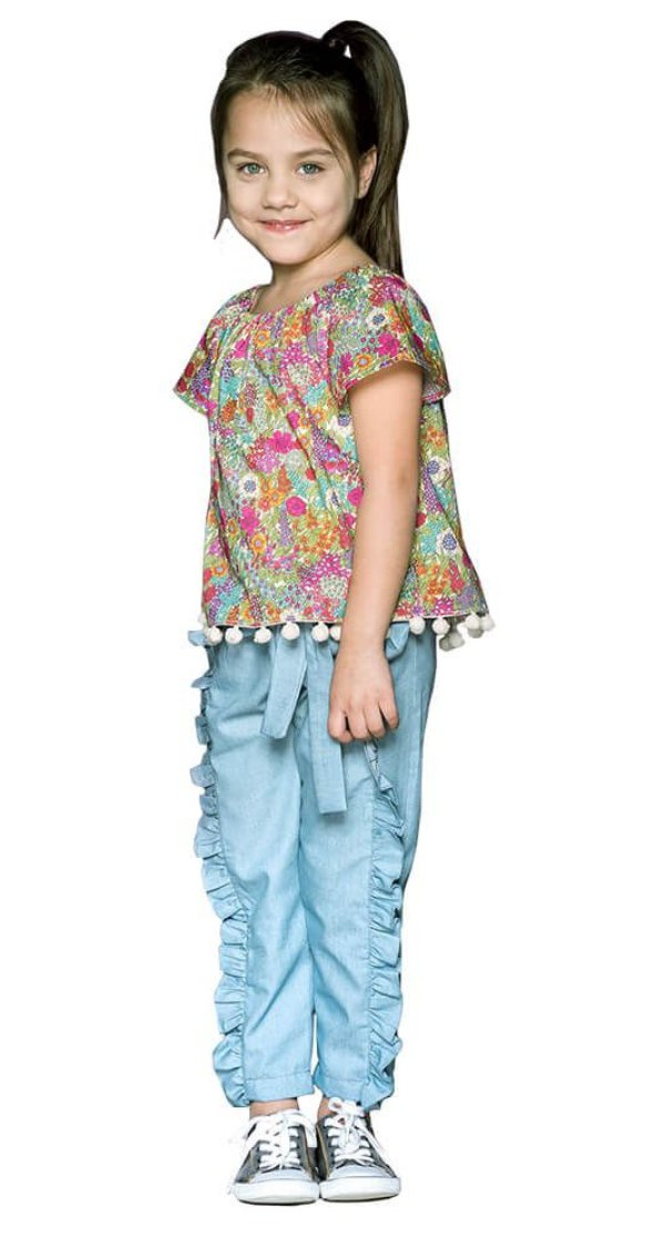 Calça infantil feminino que te encante Tesla azul