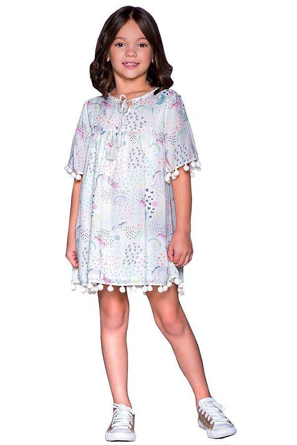 Vestido infantil feminino que te encante Núbia cavalo pompom
