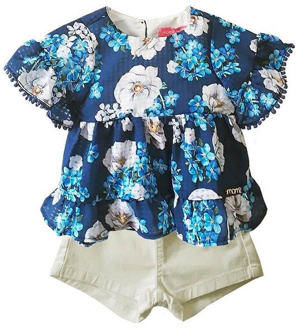 Conjunto infantil feminino Momi com shorts azul floral