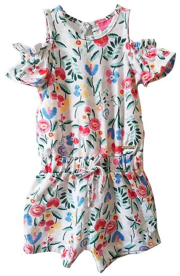 Macaquinho infantil feminino Momi floral imita bordado