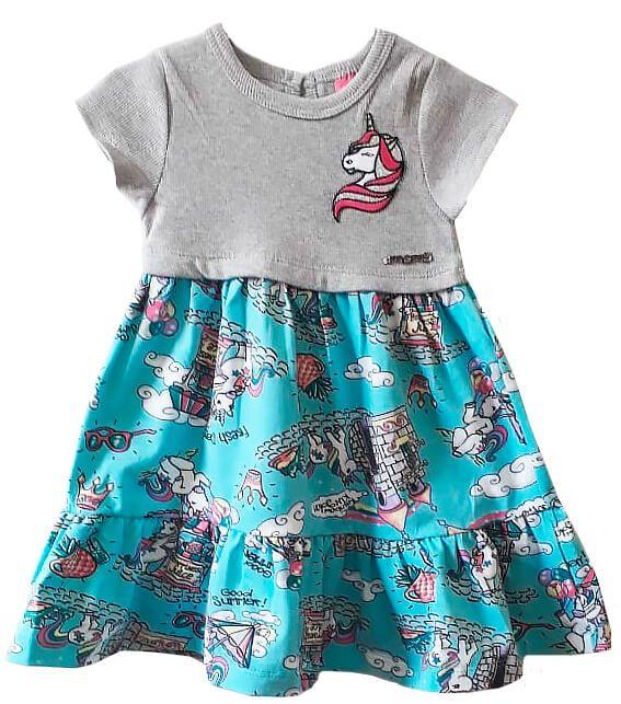Vestido infantil feminino Momi unicórnio azul ciano