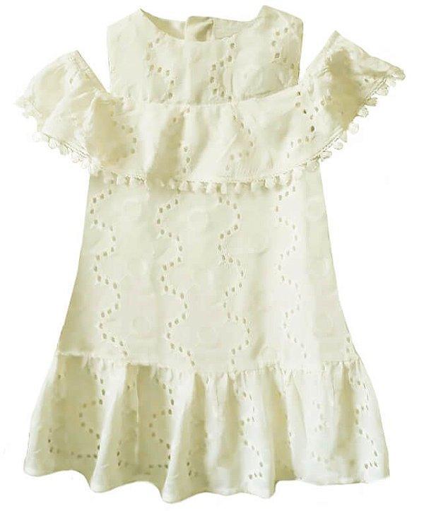 Vestido infantil feminino Momi Off White bordado