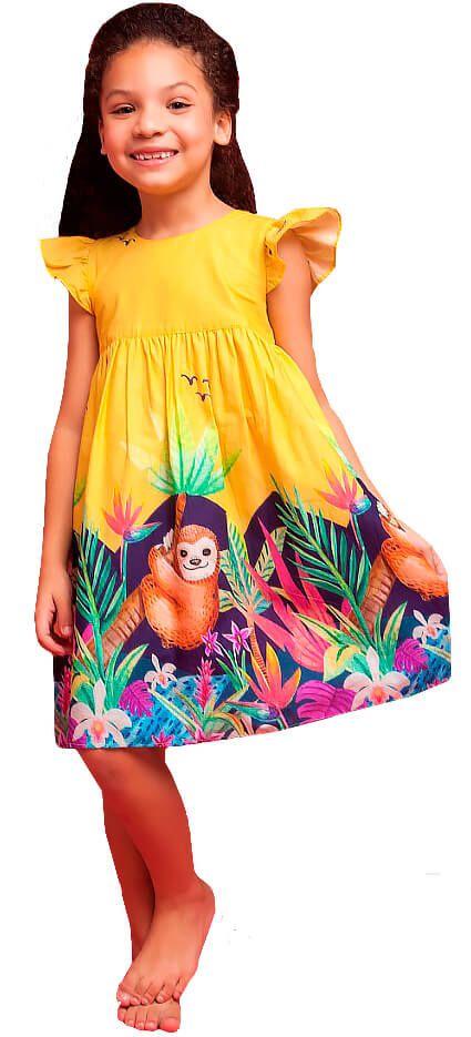 Vestido infantil feminino Mundo Céu Preguiça Amarelo