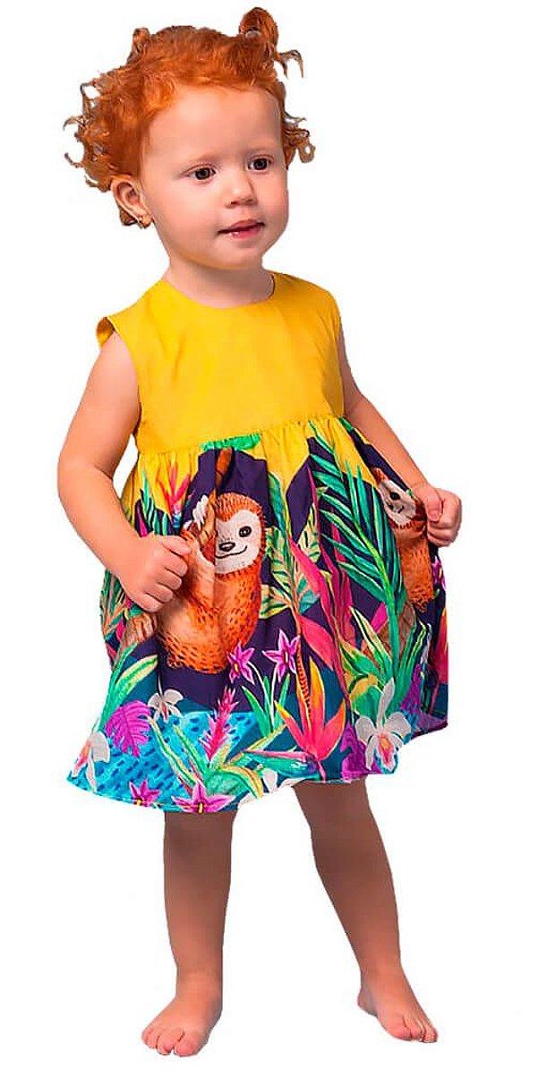 Vestido de bebê feminino Mundo Céu Preguiça Amarelo