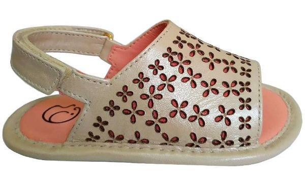 Sandália infantil feminino gambo trevo glitter creme