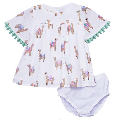 Vestido de bebê  que te encante off white camelo oasis