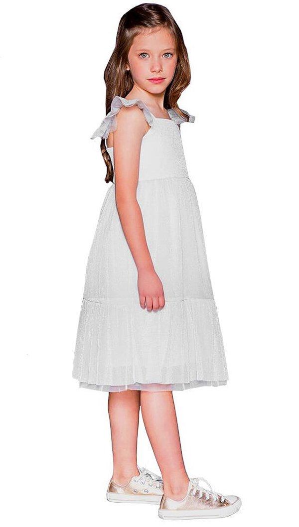 Vestido infantil feminino que te encante prata tulle stella