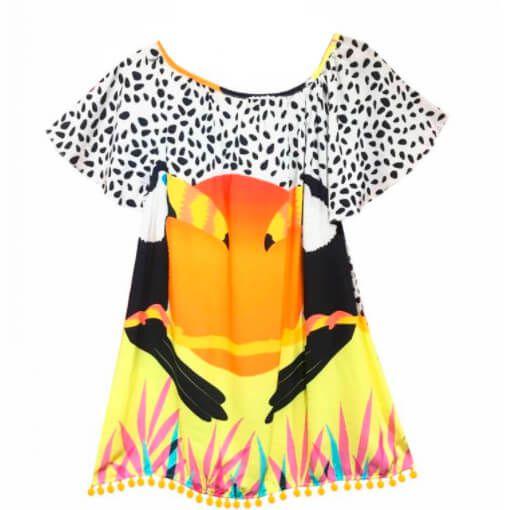 Vestido infantil feminino das meninas tucano amplo