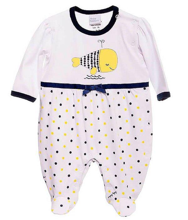Macacão de bebê menina Baby Fashion baleia poá