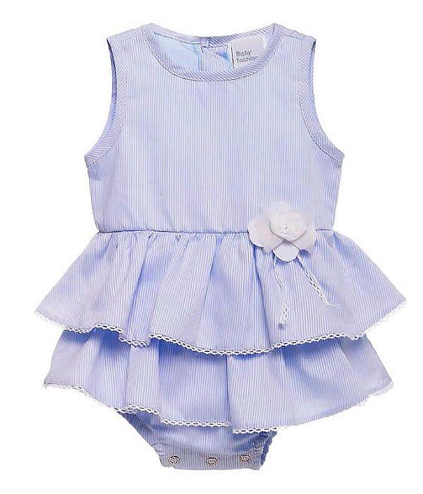 Body bebê menina Baby fashion listras azul bebê