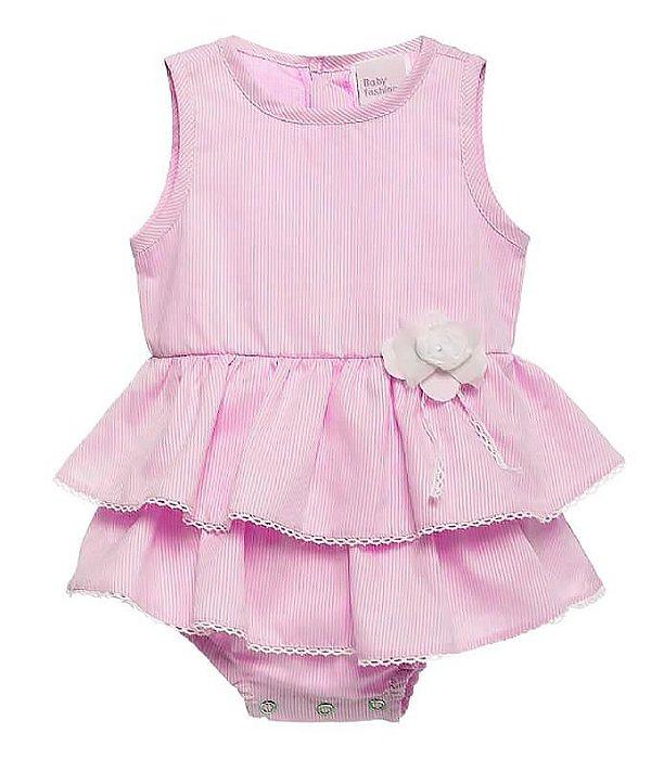 Body bebê menina Baby fashion listras rosa bebê