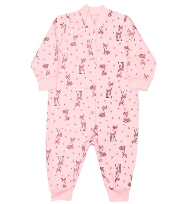 Macacão de bebê menina dedeka moletinho alces rosa