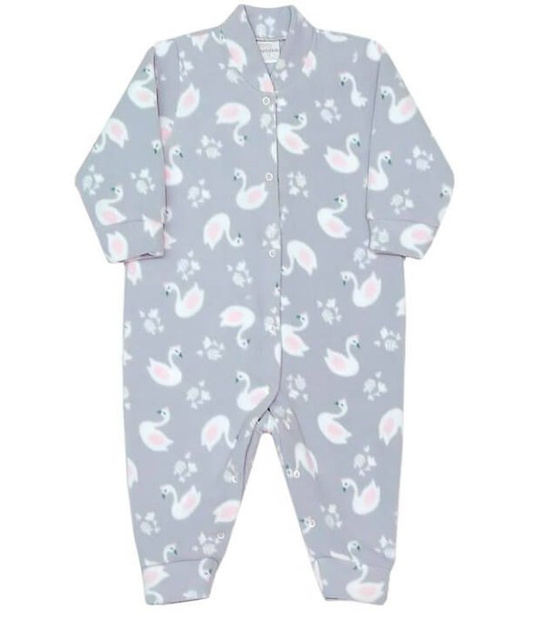Macacão de soft bebê menina dedeka cisnes