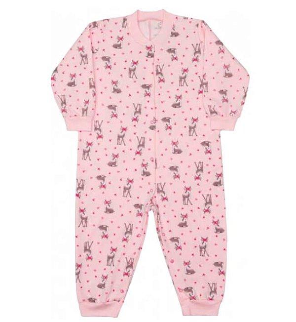Macacão infantil menina dedeka moletinho flanelado alces rosa