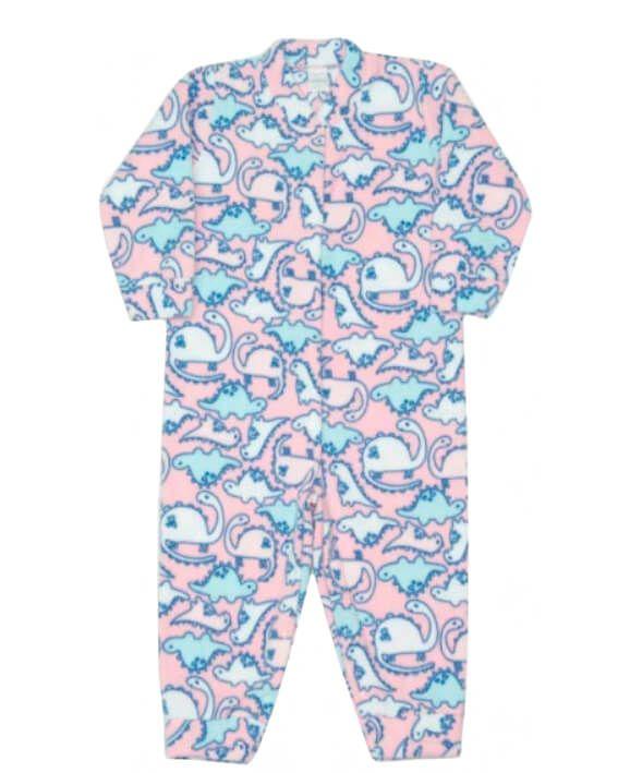Macacão infantil feminino Dedeka soft dinos rosa