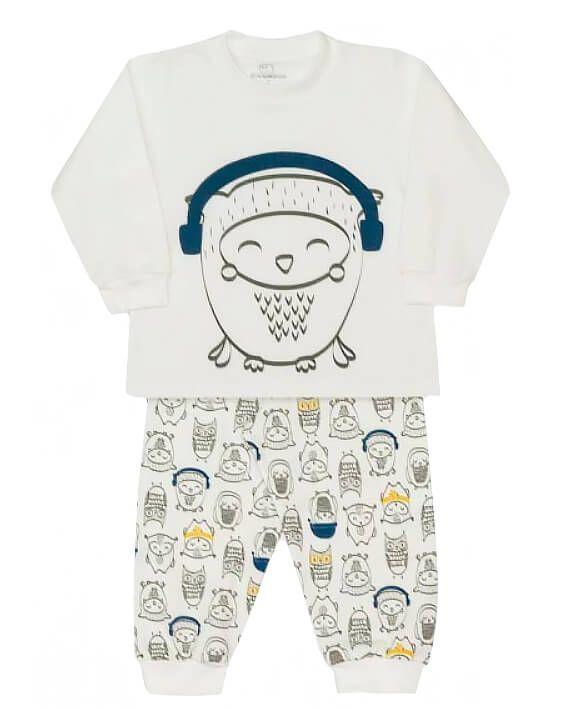 Pijama infantil unissex dedeka moletinho corujas