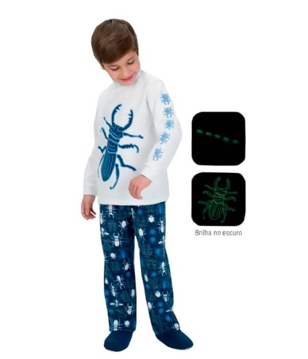 Pijama infantil masculino dedeka insetos brilha no escuro