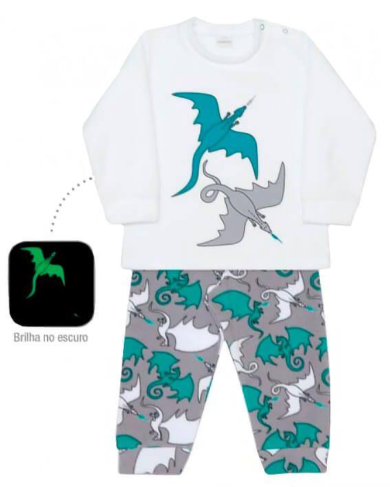 Pijama infantil dedeka soft dragões brilha escuro passos